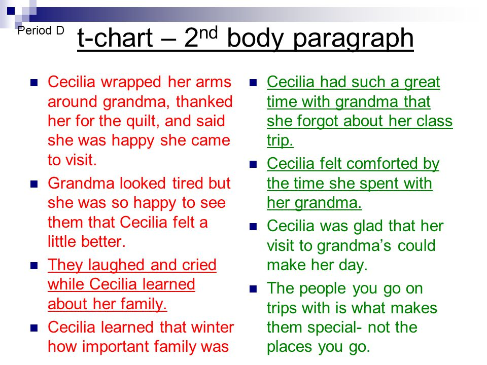 t-chart – 2 nd body paragraph Cecilia wrapped her arms around grandma, thanked her for the quilt, and said she was happy she came to visit. Grandma lo