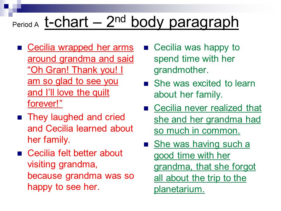 """t-chart – 2 nd body paragraph Cecilia wrapped her arms around grandma and said """"Oh Gran! Thank you! I am so glad to see you and I'll love the quilt fo"""