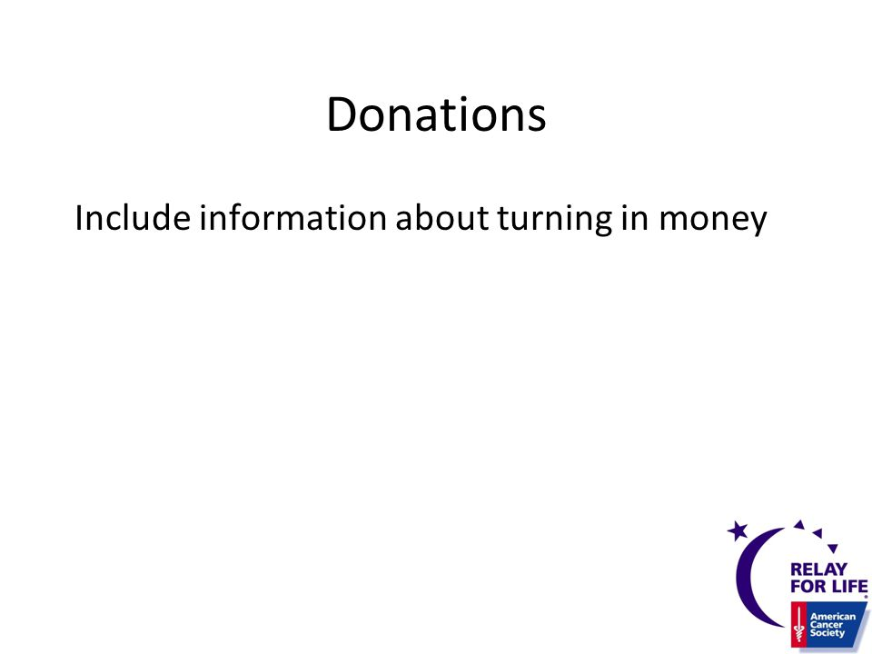 Donations Include information about turning in money