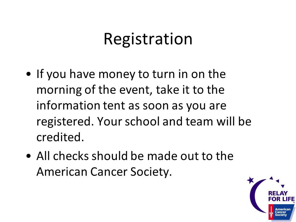 Registration Additional Registration info to be included here