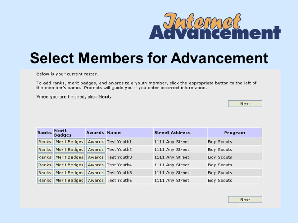 Select Members for Advancement