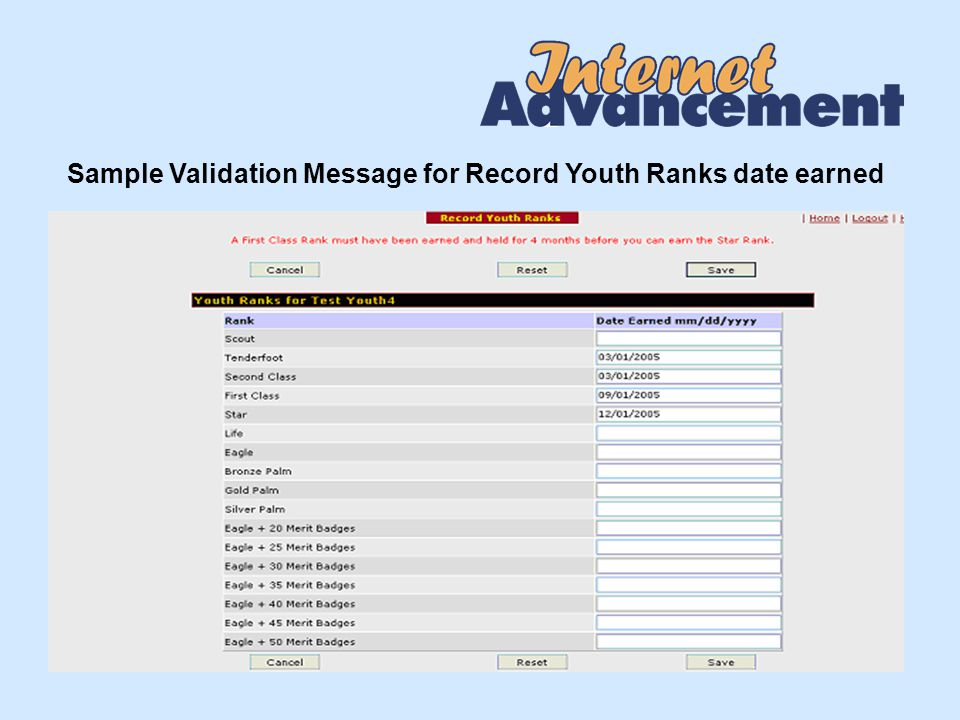 Sample Validation Message for Record Youth Ranks date earned