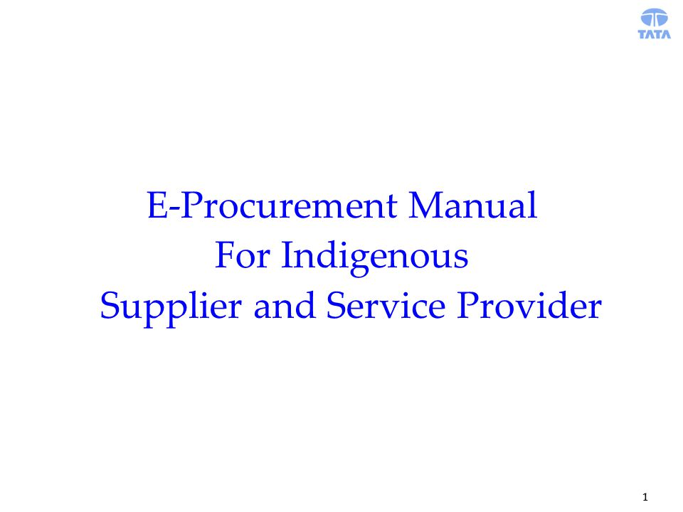 1 E-Procurement Manual For Indigenous Supplier and Service Provider
