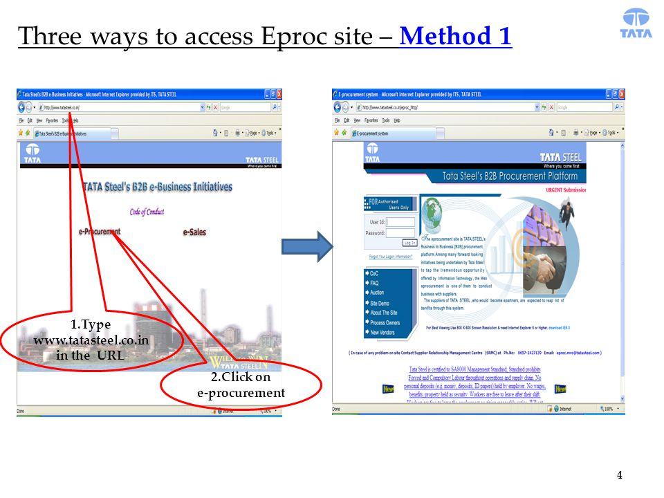 4 Three ways to access Eproc site – Method 1 1.Type www.tatasteel.co.in in the URL 2.Click on e-procurement