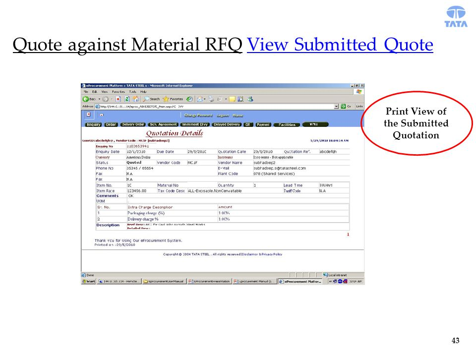Quote against Material RFQ View Submitted Quote Print View of the Submitted Quotation 43