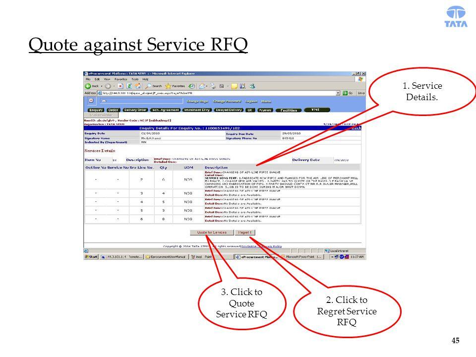 Quote against Service RFQ 1. Service Details. 3.