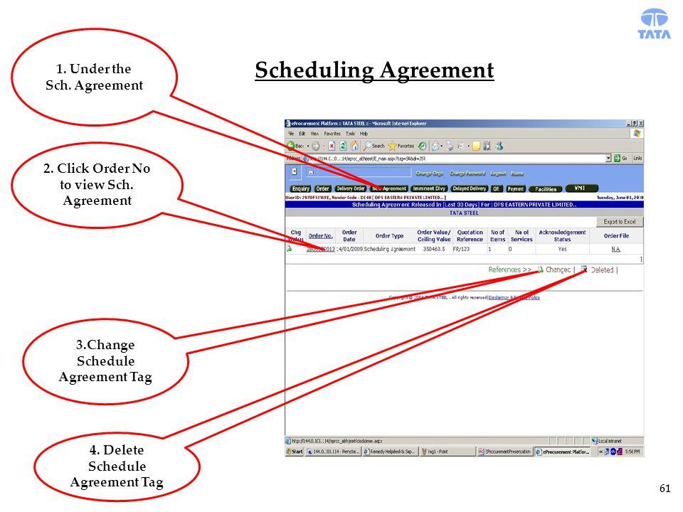 Scheduling Agreement 61 1. Under the Sch. Agreement 2.