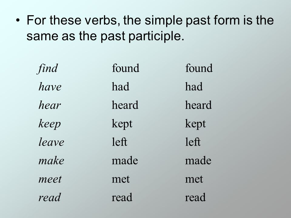 For these verbs, the simple past form is the same as the past participle.