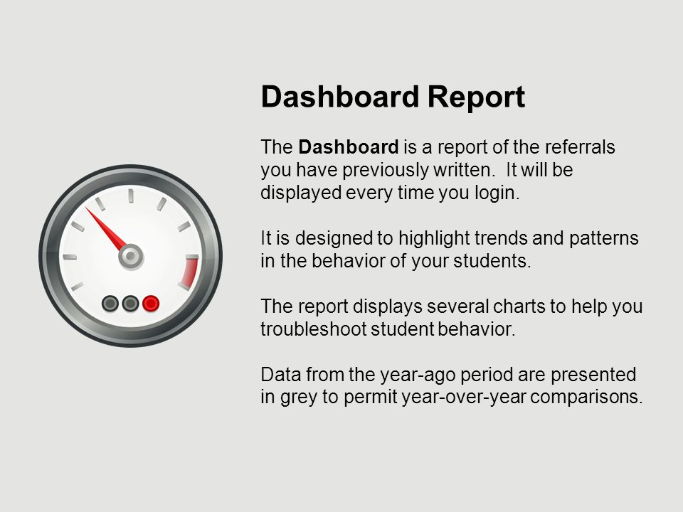 Dashboard Report The Dashboard is a report of the referrals you have previously written.