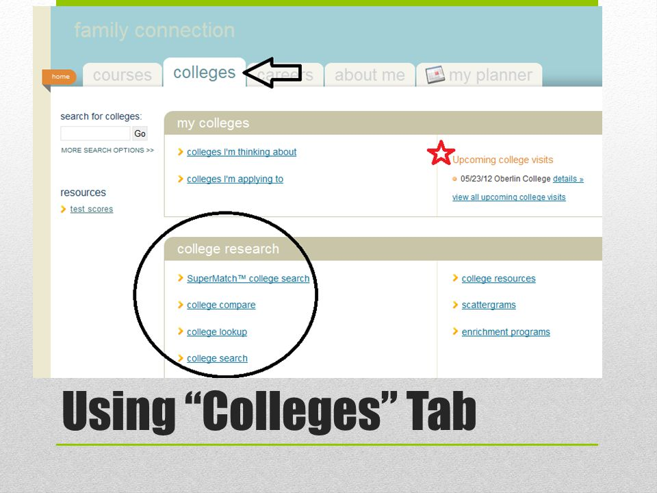 SuperMatch College Search Asks for preferences on match and fit factors College Search A different way to sort by preferences Take 5-10 minutes to add/pin schools you're thinking about Researching Colleges on Naviance