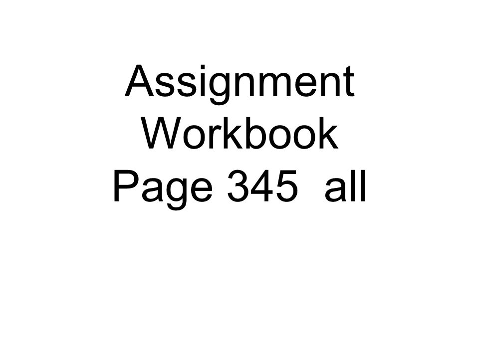 Here comes the assignment