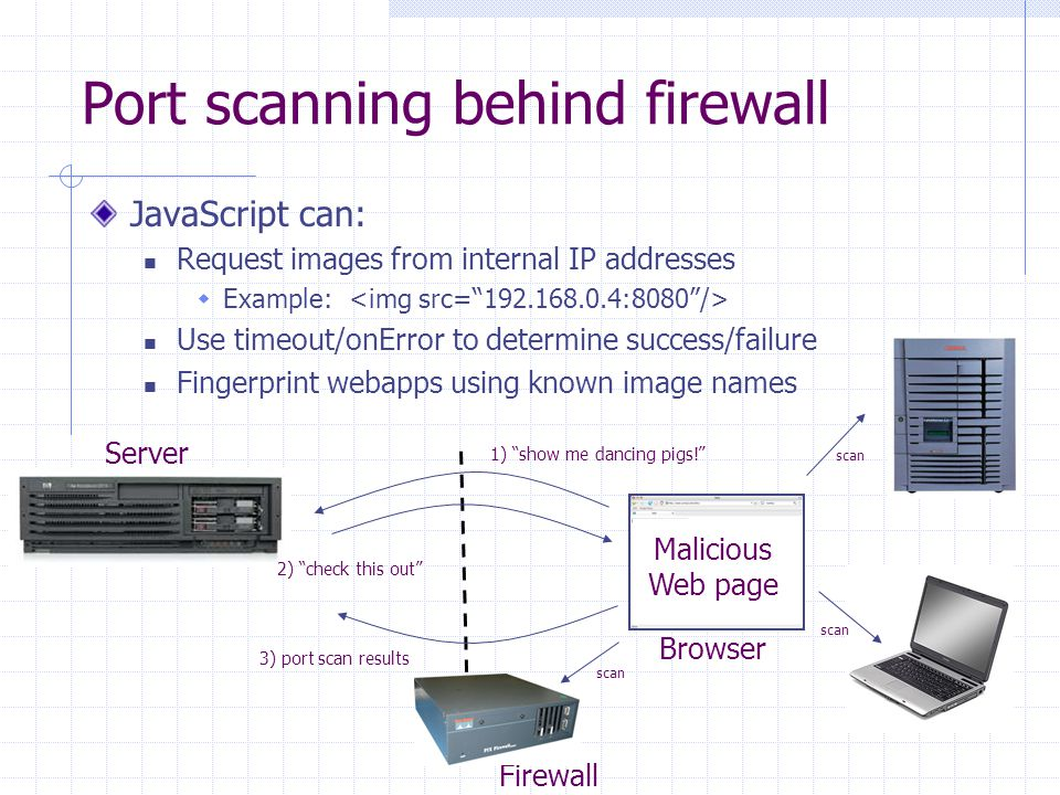 Port scanning behind firewall JavaScript can: Request images from internal IP addresses  Example: Use timeout/onError to determine success/failure Fi