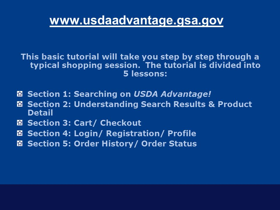 Section 1: Searching on USDA Advantage.