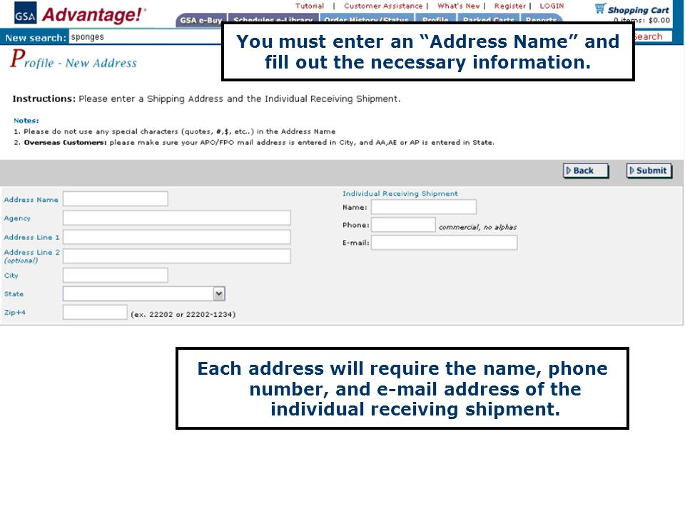 You must enter an Address Name and fill out the necessary information.