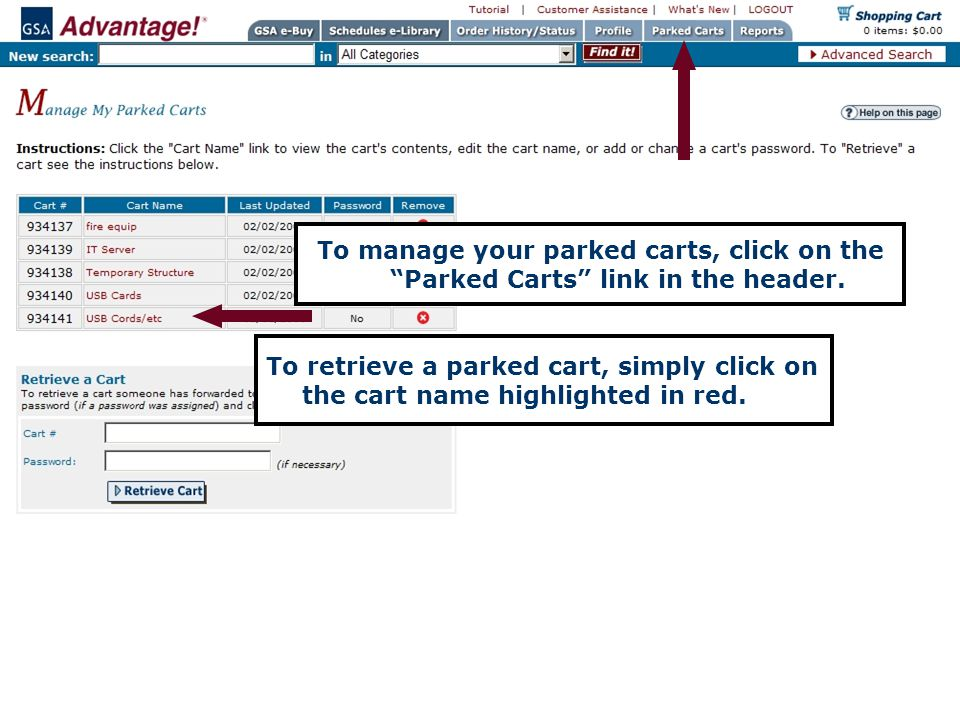 To manage your parked carts, click on the Parked Carts link in the header.