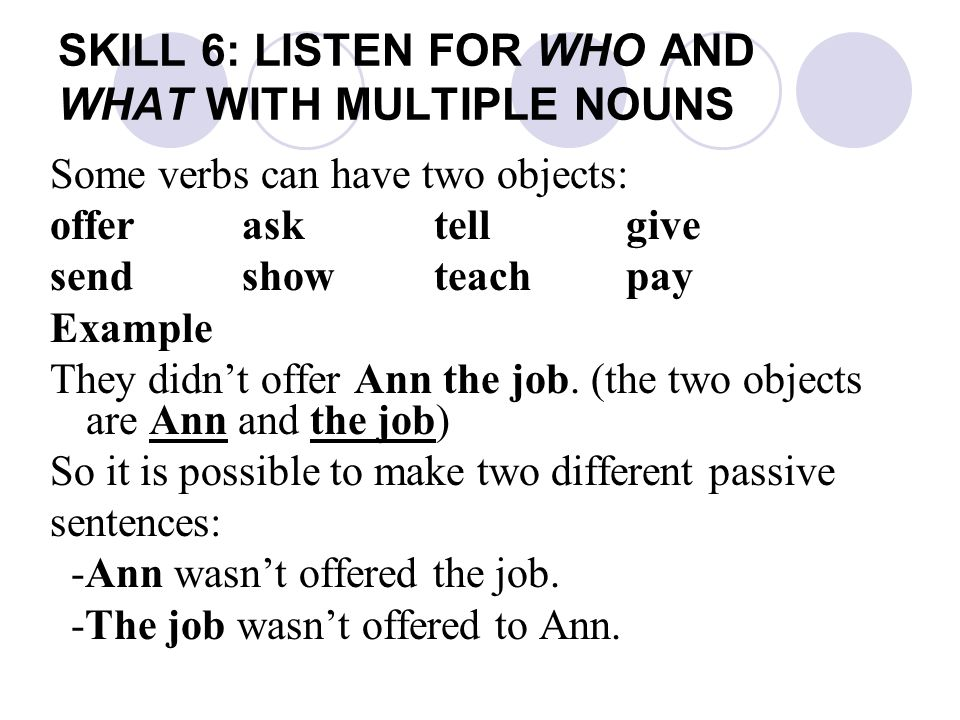 SKILL 6: LISTEN FOR WHO AND WHAT WITH MULTIPLE NOUNS Some verbs can have two objects: offerasktellgive sendshow teachpay Example They didn't offer Ann