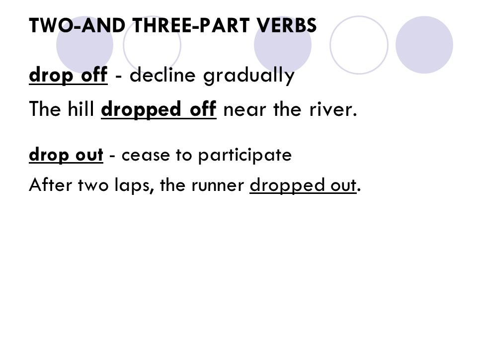 TWO-AND THREE-PART VERBS drop off - decline gradually The hill dropped off near the river. drop out - cease to participate After two laps, the runner