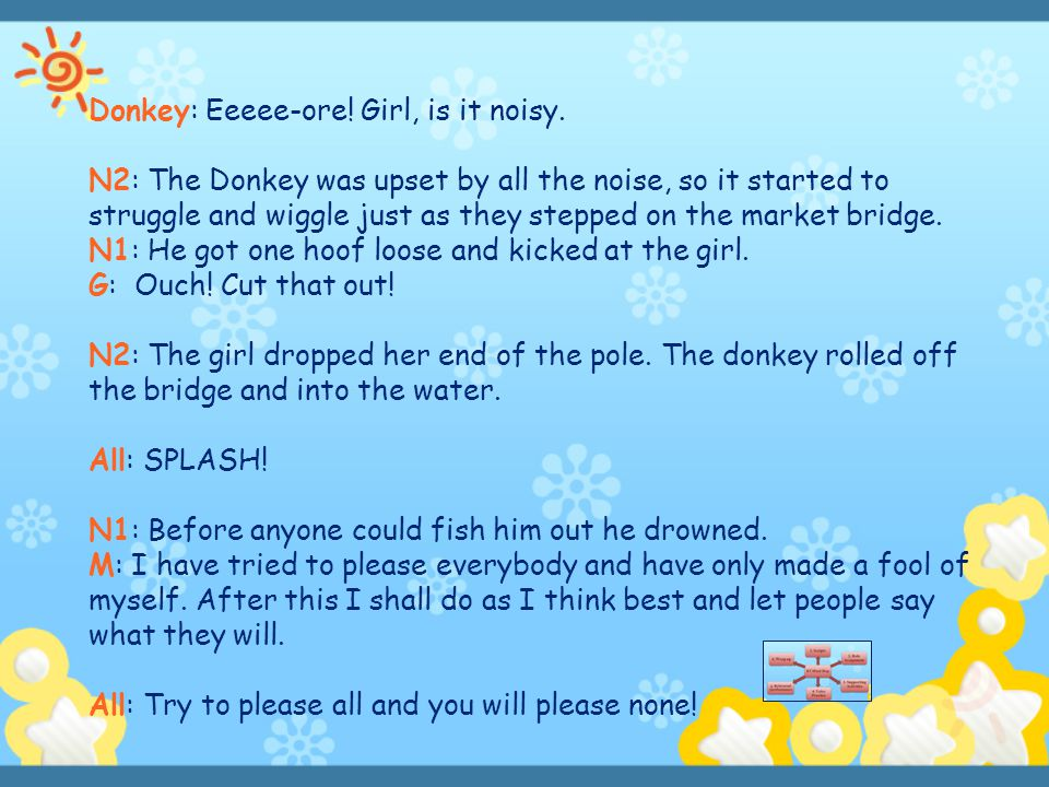 Donkey: Eeeee-ore! Girl, is it noisy. N2: The Donkey was upset by all the noise, so it started to struggle and wiggle just as they stepped on the mark