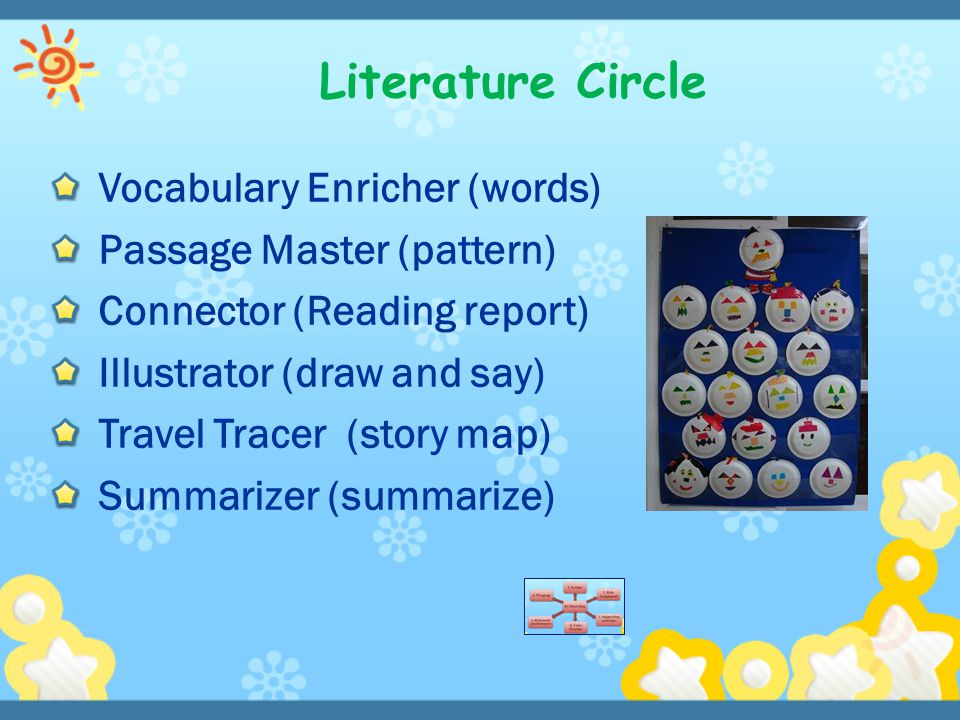 Vocabulary Enricher (words) Passage Master (pattern) Connector (Reading report) Illustrator (draw and say) Travel Tracer (story map) Summarizer (summa