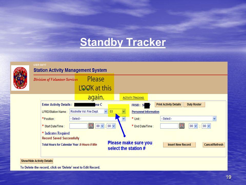 19 Standby Tracker