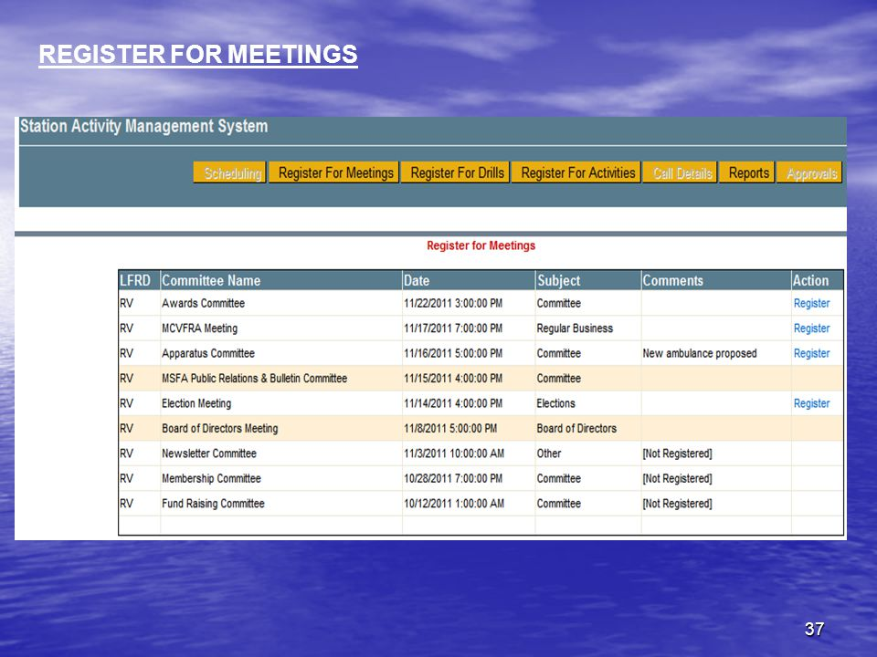 37 REGISTER FOR MEETINGS