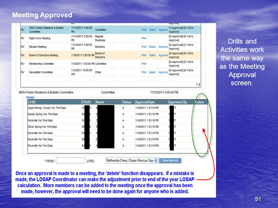 51 Meeting Approved Drills and Activities work the same way as the Meeting Approval screen.