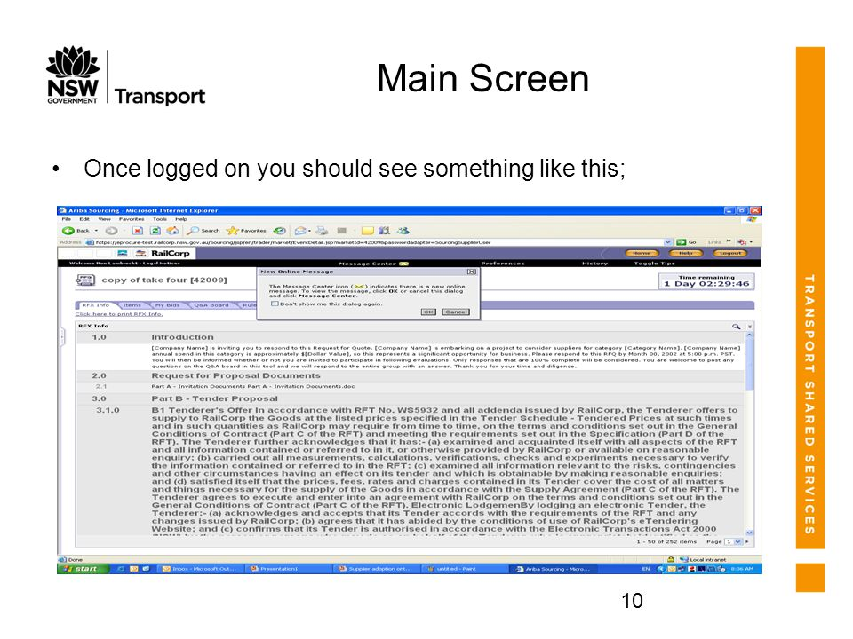 10 Main Screen Once logged on you should see something like this;