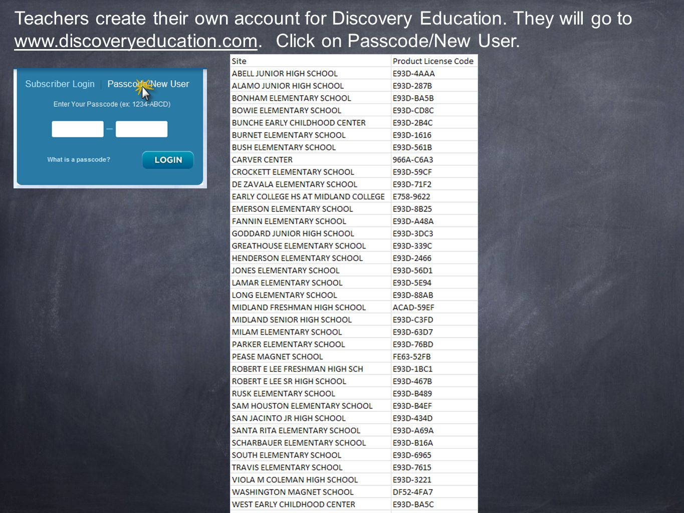 Teachers create their own account for Discovery Education.