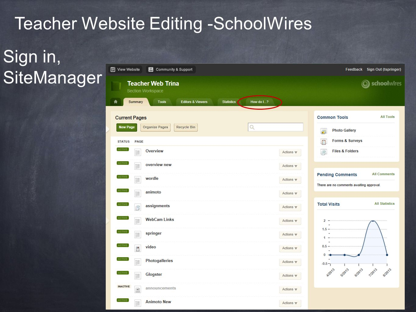 Teacher Website Editing -SchoolWires Sign in, SiteManager