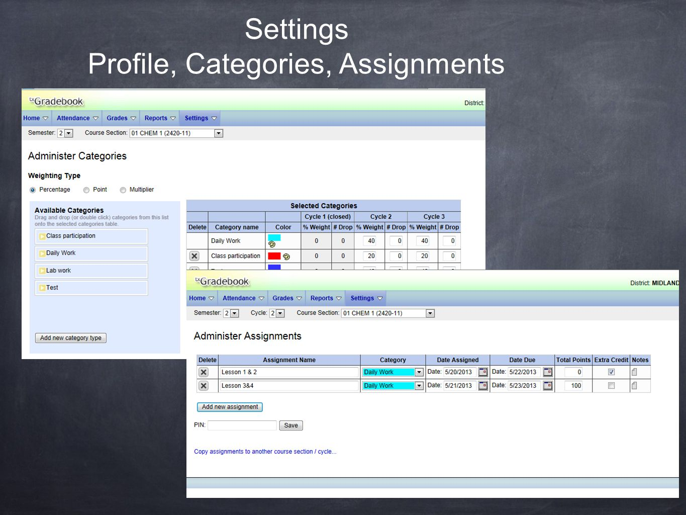 Settings Profile, Categories, Assignments