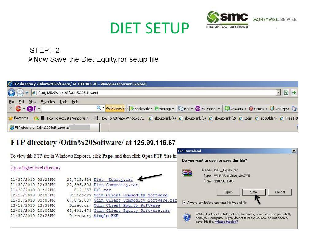 DIET SETUP STEP:- 2  Now Save the Diet Equity.rar setup file