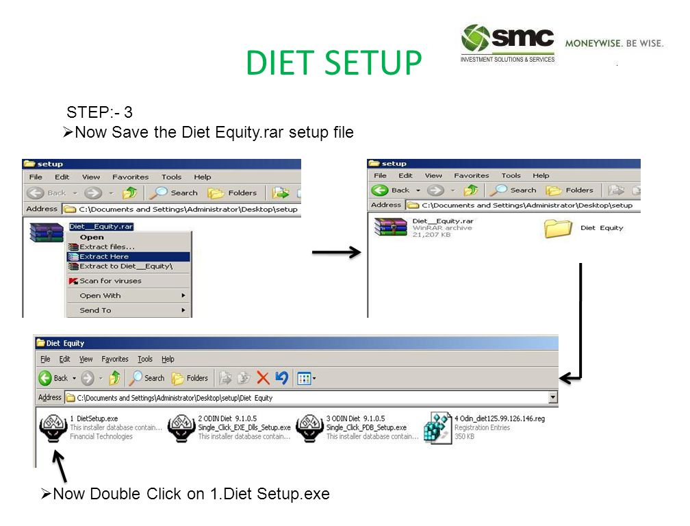 DIET SETUP STEP:- 3  Now Save the Diet Equity.rar setup file  Now Double Click on 1.Diet Setup.exe
