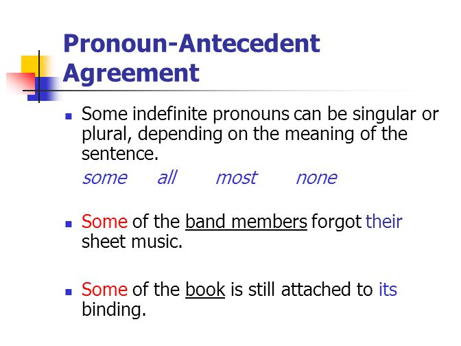 Pronoun-Antecedent Agreement Some indefinite pronouns can be singular or plural, depending on the meaning of the sentence.