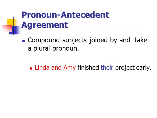 Pronoun-Antecedent Agreement Compound subjects joined by and take a plural pronoun. Linda and Amy finished their project early.