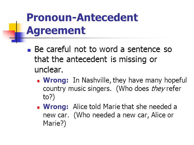 Pronoun-Antecedent Agreement Be careful not to word a sentence so that the antecedent is missing or unclear.