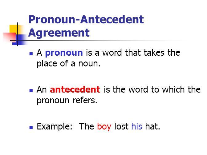 Pronoun-Antecedent Agreement A pronoun is a word that takes the place of a noun.