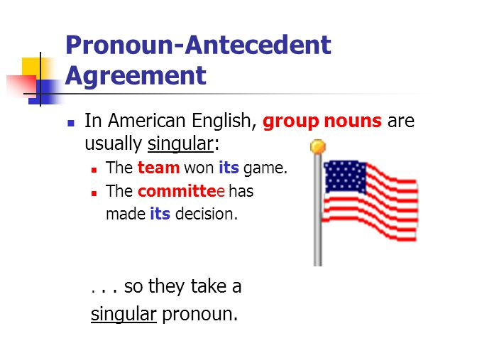 Pronoun-Antecedent Agreement In American English, group nouns are usually singular: The team won its game. The committee has made its decision.... so