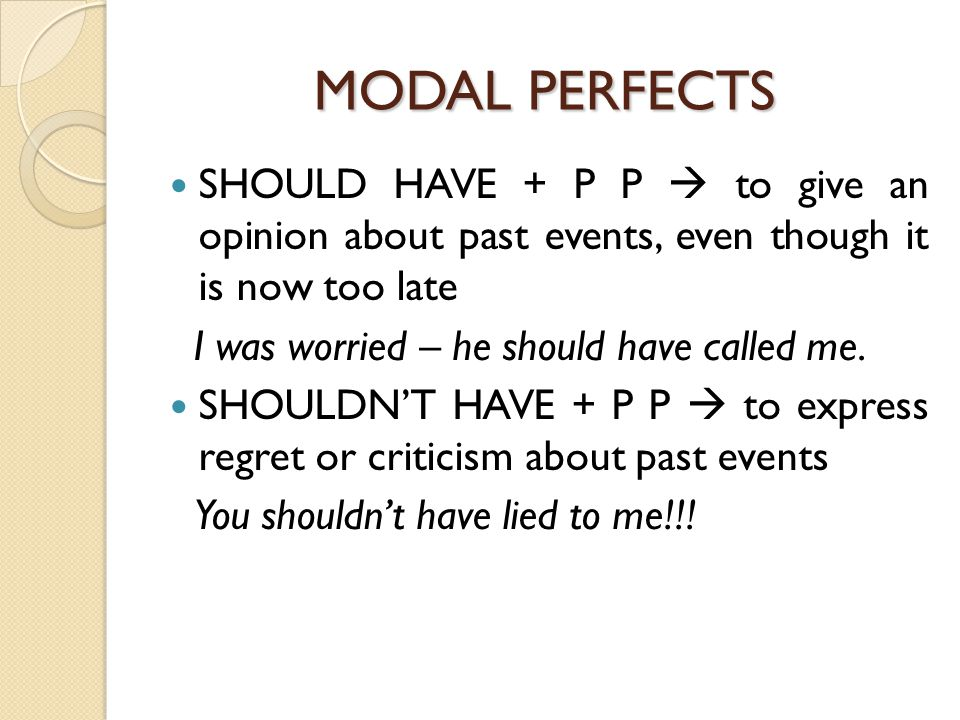 MODAL PERFECTS SHOULD HAVE + P P  to give an opinion about past events, even though it is now too late I was worried – he should have called me.