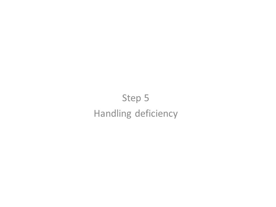 Step 5 Handling deficiency