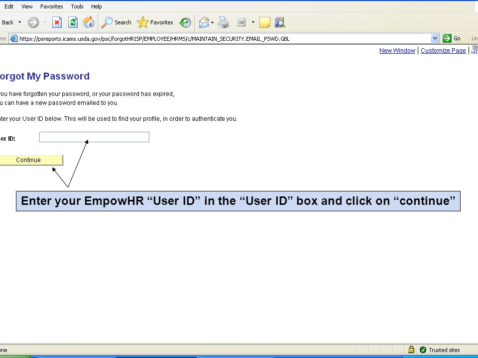 Enter your EmpowHR User ID in the User ID box and click on continue