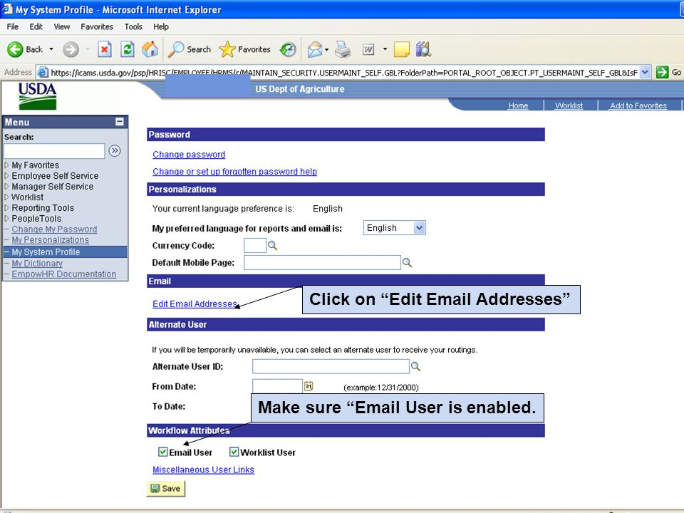 Click on Edit Email Addresses Make sure Email User is enabled.