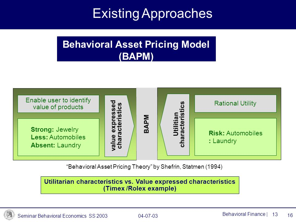 Seminar Behavioral Economics SS 2003 04-07-03 13 Behavioral Finance | Behavioral Asset Pricing Model (BAPM) Existing Approaches 16 Strong: Jewelry Less: Automobiles Absent: Laundry value expressed characteristics Enable user to identify value of products Risk: Automobiles : Laundry Utilitian characteristics Rational Utility Utilitarian characteristics vs.
