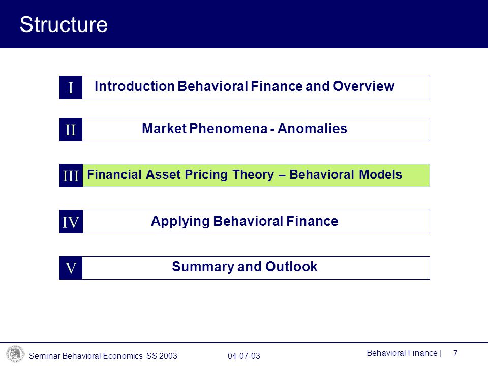 Seminar Behavioral Economics SS 2003 04-07-03 7 Behavioral Finance | Structure Introduction Behavioral Finance and Overview Summary and Outlook Market Phenomena - Anomalies I V II Financial Asset Pricing Theory – Behavioral Models III Applying Behavioral Finance IV