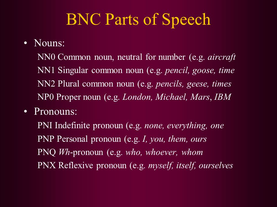 BNC Parts of Speech Nouns: NN0 Common noun, neutral for number (e.g. aircraft NN1 Singular common noun (e.g. pencil, goose, time NN2 Plural common nou