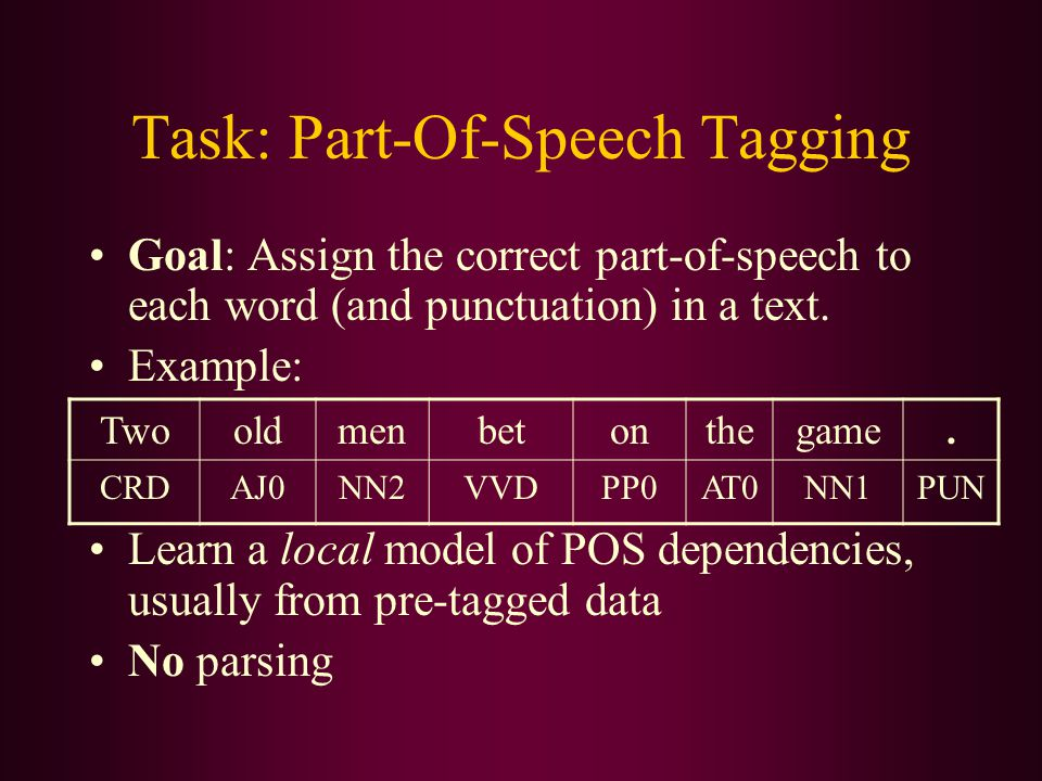 Task: Part-Of-Speech Tagging Goal: Assign the correct part-of-speech to each word (and punctuation) in a text. Example: Learn a local model of POS dep