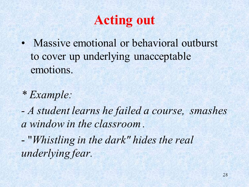 Acting out Massive emotional or behavioral outburst to cover up underlying unacceptable emotions.