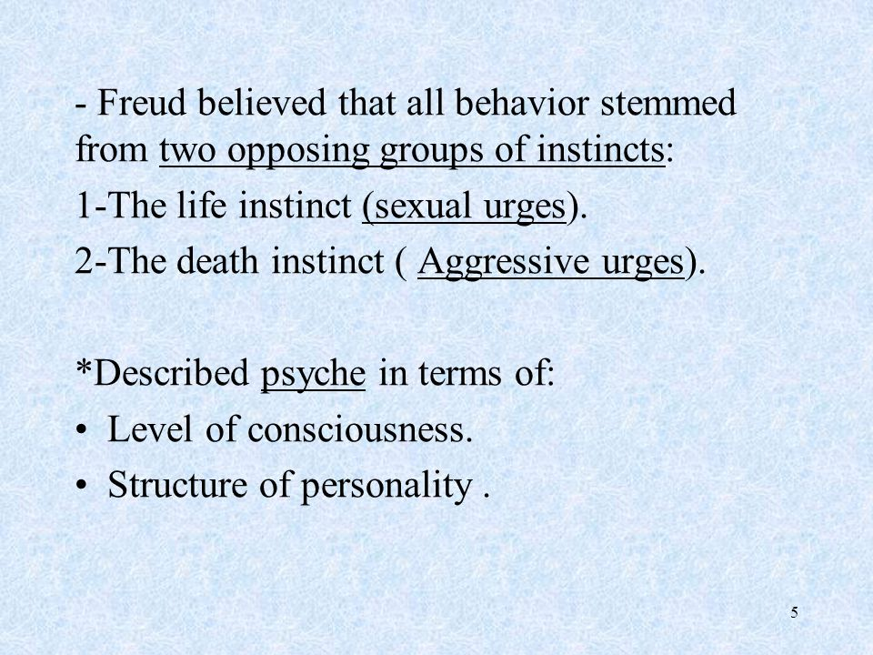 - Freud believed that all behavior stemmed from two opposing groups of instincts: 1-The life instinct (sexual urges).