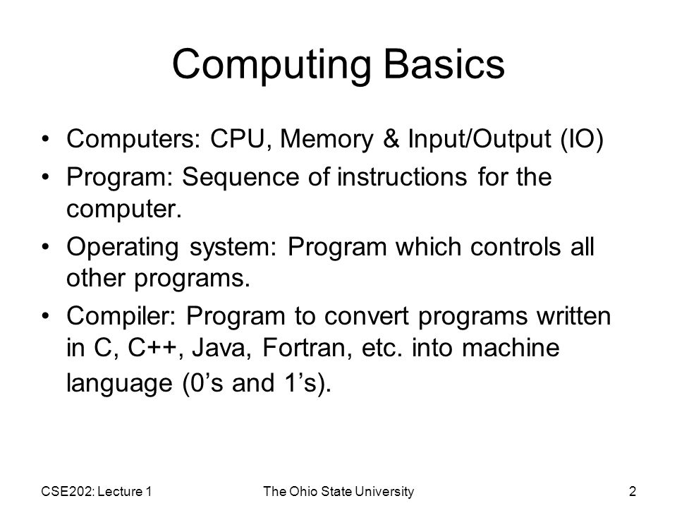 CSE202: Lecture 1The Ohio State University13 helloworldNoNamespace.cpp 1.// Example of compiler error.