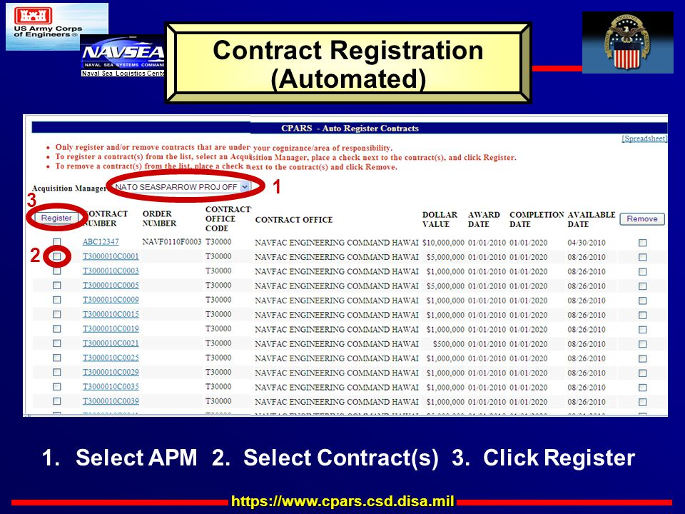 https://www.cpars.csd.disa.mil Naval Sea Logistics Center Contract Registration (Automated) 1 2 3 1.Select APM 2.