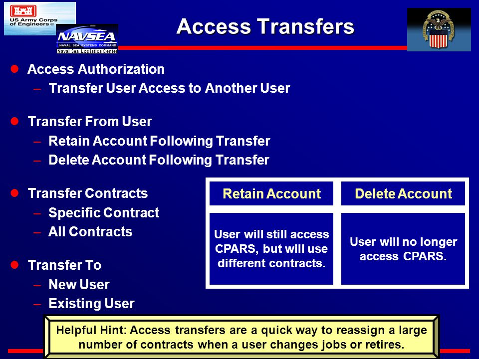 https://www.cpars.csd.disa.mil Naval Sea Logistics Center Access Transfers Access Authorization –Transfer User Access to Another User Transfer From User –Retain Account Following Transfer –Delete Account Following Transfer Transfer Contracts –Specific Contract –All Contracts Transfer To –New User –Existing User User will still access CPARS, but will use different contracts.